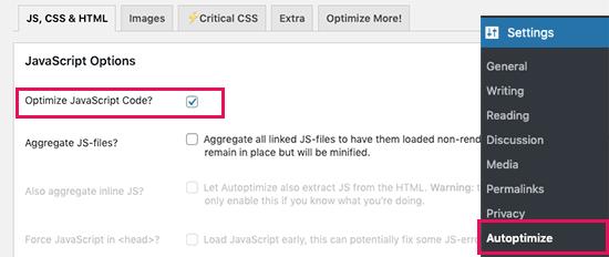 Optimize JS files in Autoptimize