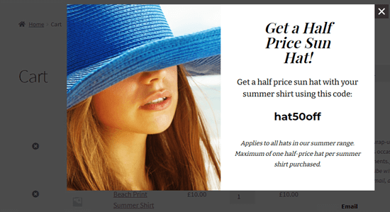 The cross sell popup appearing when a summer shirt is in the customer's cart