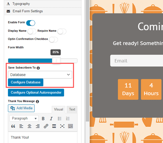 Choose your email service from the dropdown in the SeedProd coming soon page builder