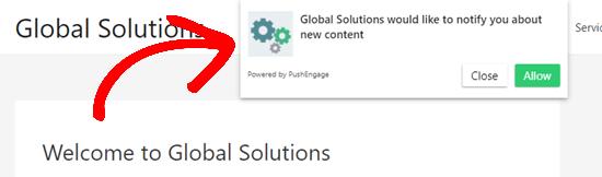 Kotak dialog langganan langsung di situs web