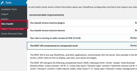 REST API error in WordPress Site Health