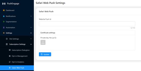 Menyiapkan pemberitahuan push web di Safari