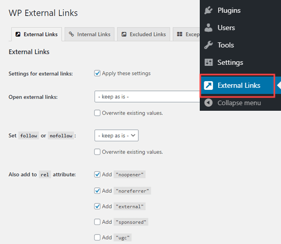 Setting up the External Links plugin