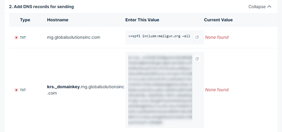 Getting the DNS records from Mailgun that you need to add to your subdomain