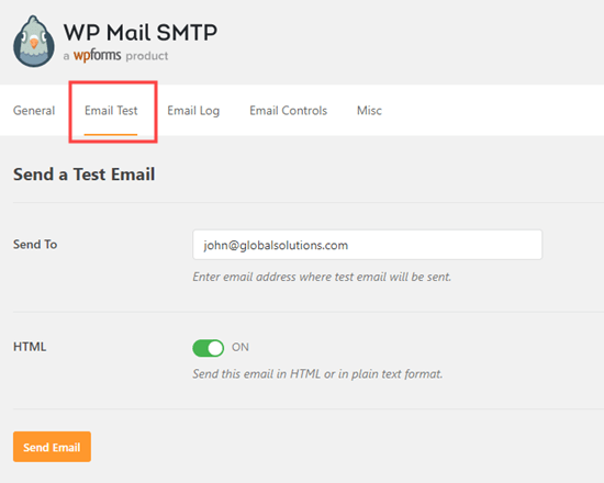 Sending an email test from WP Mail SMTP to verify  that everything is set up correctly