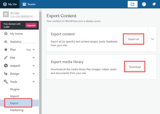 Exporting your website from WordPress dot com