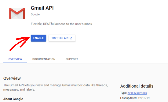 Clicking the Enable button for the Gmail API