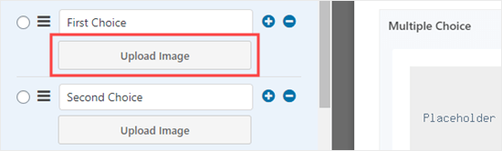 Uploading images for the different choices on your form