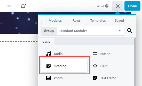 Add a heading module to Beaver Builder