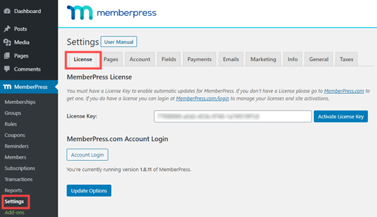 Enter your MemberPress license key