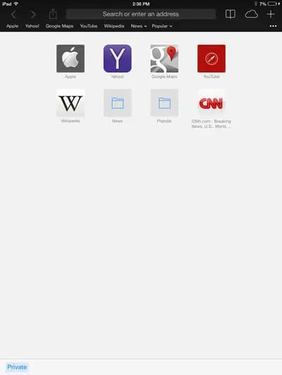 How to Start a Private Browsing Session in iOS 7 on the