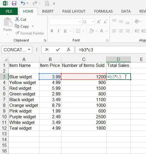 creating formulas in excel