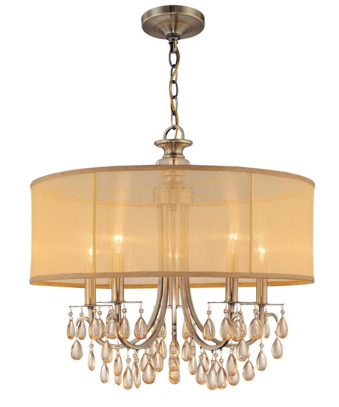 Shown In Antique Brass Finish Etruscan Smooth Oysters Crystal And Gold Silk Shimmer Shade