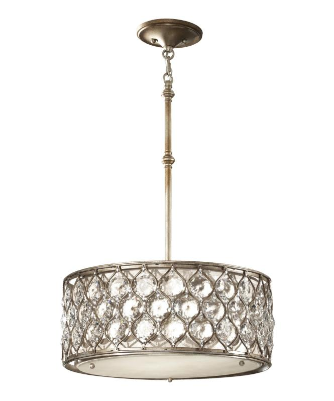 Shown In Burnished Silver Finish And Beige Shade