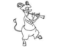 Disegno di Fauno che suona il flauto da Colorare - Acolore.com