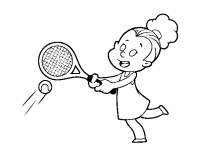 Disegno di Ragazza giocando a tennis da Colorare
