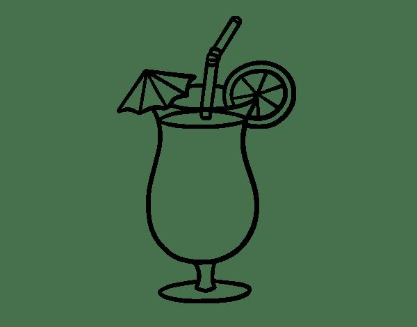 Two Cocktails Coloring Page Coloringcrewcom Sketch