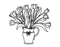 Disegno di Vaso di tulipani da Colorare