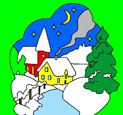 Disegno Villaggio natalizio colorato da Utente non