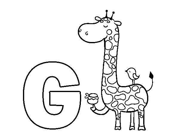 Draw Samples: G For Giraffe Coloring Page Easy Drawing