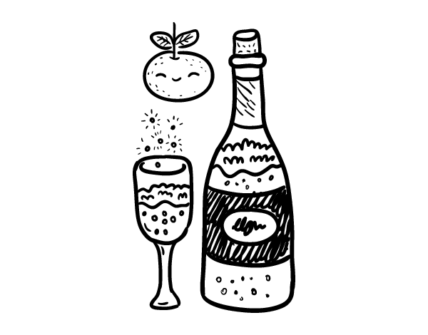 Glass of champagne for New Year's Eve coloring page