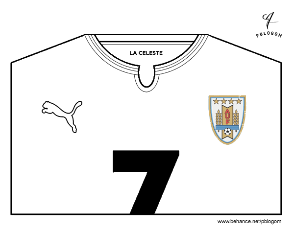 Uruguay World Cup 2014 t-shirt coloring page