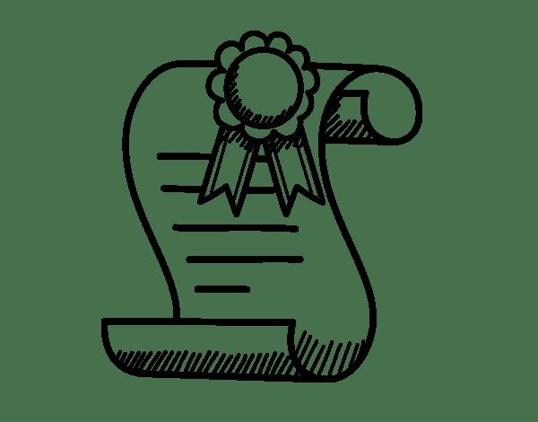 Coloriage de Diplôme d'études secondaires pour Colorier