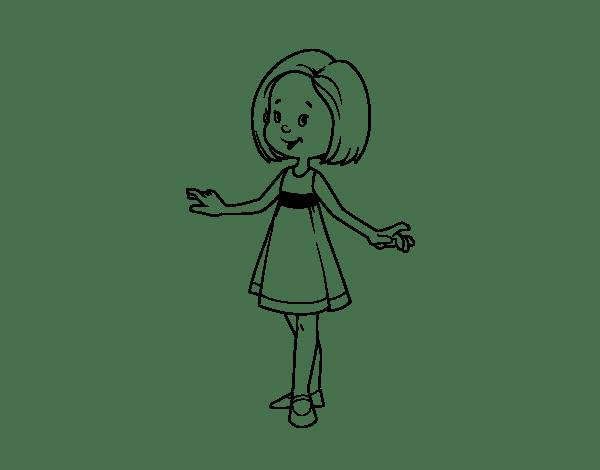 Coloriage de Fille avec une robe d'été pour Colorier