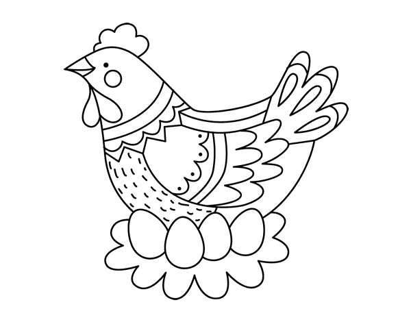 Coloriage de Poule avec oeufs de Pâques pour Colorier