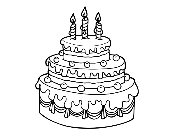 Coloriage de Tarte d'anniversaire pour Colorier