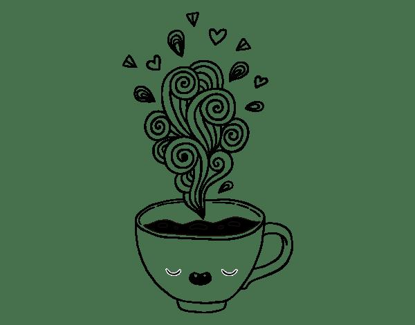 Coloriage de Tasse de café kawaii pour Colorier