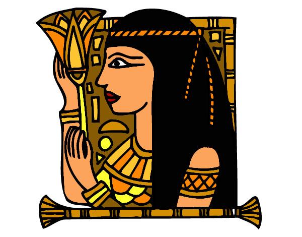 Dibujo de un cleopatra y thot para pintar, colorear o imprimir. Dibujo de Cleopatra pintado por Solecarden en Dibujos.net