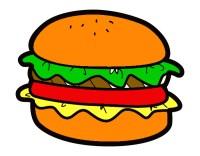 Dibujo de hamburguesa dibujo pintado por Pipig en Dibujos