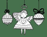 Dibujo de ngeles y bolas de Navidad para Colorear ...