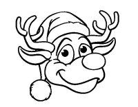 Dibujo de Cara de reno Rudolph para Colorear - Dibujos.net