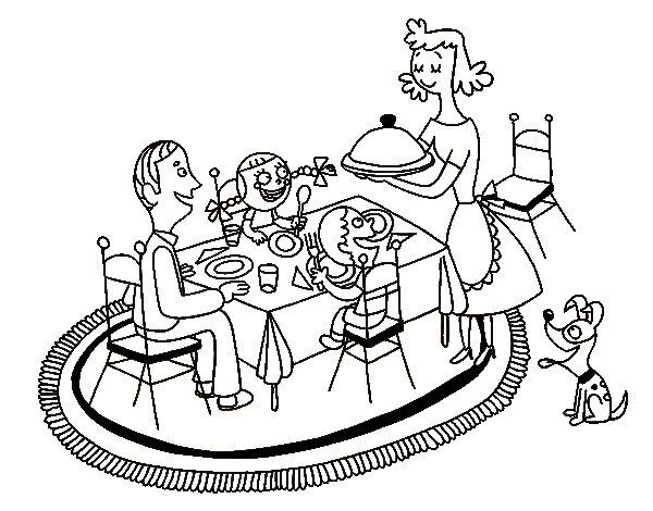 Dibujo de Cena familiar para Colorear  Dibujosnet