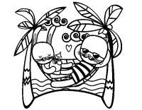 Dibujo de Conejitos en hamacas para Colorear - Dibujos.net