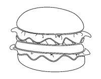 Dibujo de Hamburguesa con lechuga para Colorear - Dibujos.net