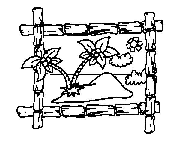 Dibujo de Marco con palmeras para Colorear  Dibujosnet