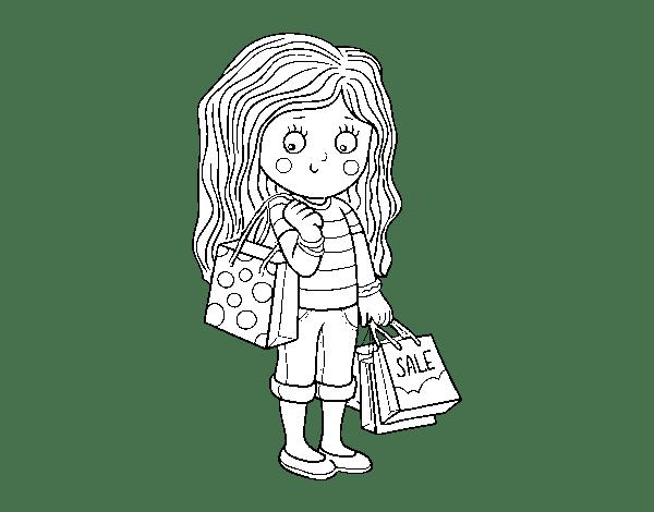 Dibujo de Nia con compras de verano para Colorear
