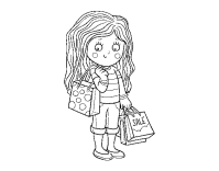 Dibujo de Nia con compras de verano para Colorear ...