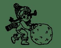 Dibujo de Nia con gran bola de nieve para Colorear