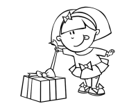 Dibujo de Nia con regalo para Colorear - Dibujos.net