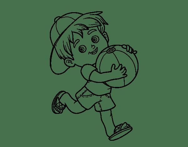 Dibujo de Niño jugando con balón de playa para Colorear