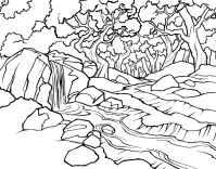 Dibujo de Paisaje de bosque con un ro para Colorear ...