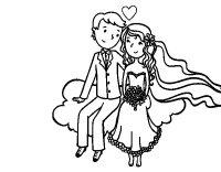 Dibujo de Recin casados en una nube para Colorear ...
