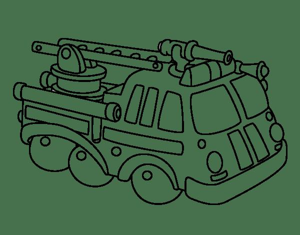 Dibujo de Vehculo de bomberos para Colorear