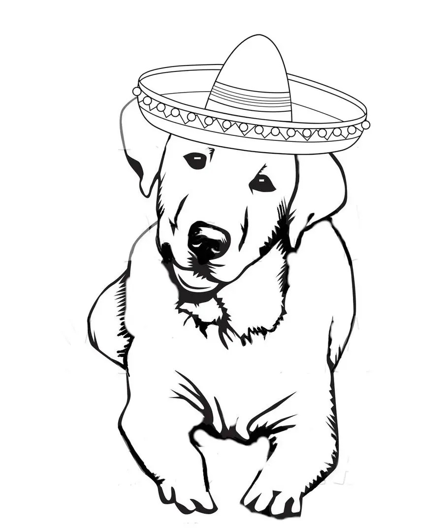 Labrador Face with Happy New Year Party Hat Outline Design