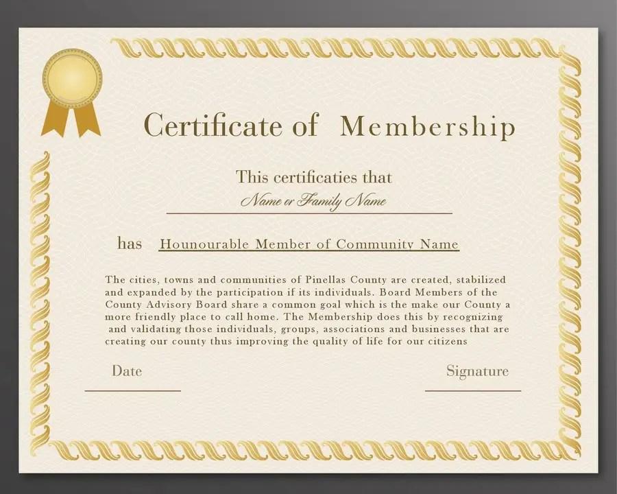 New Church Membership Certificate