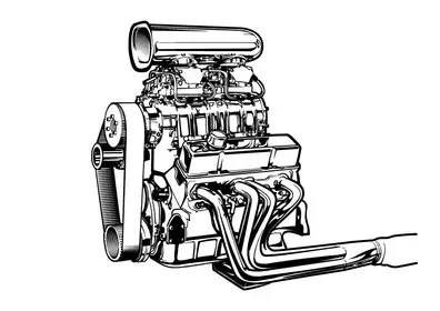 Line-art (B&W) Vector drawing of a supercharged chevy